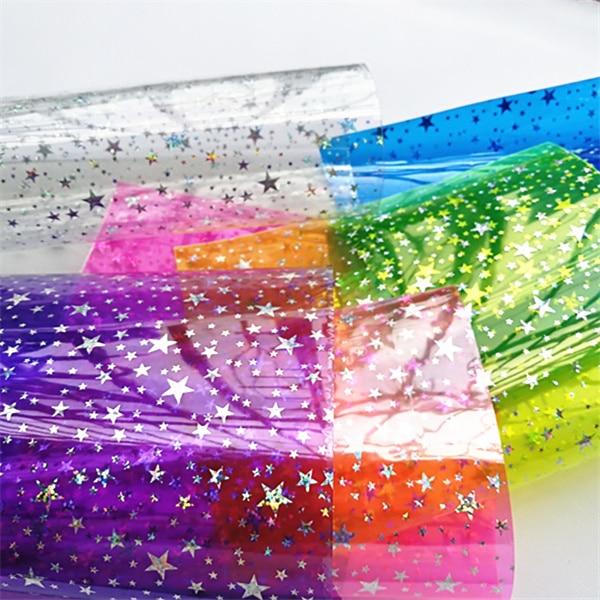 Free shipping 1pcs/7.6*12inch synthetic hologram star transparent PVC vinyl fabric