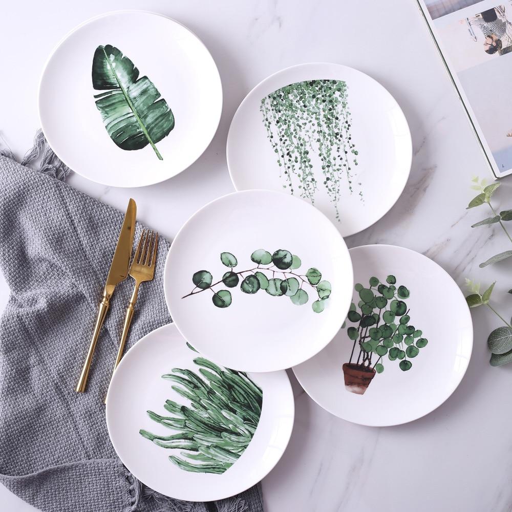 Ceramic Dinnerware Dinner Plates 8 inches European Tableware Sushi Dishes Set Crockery Round Steak Cake Tray