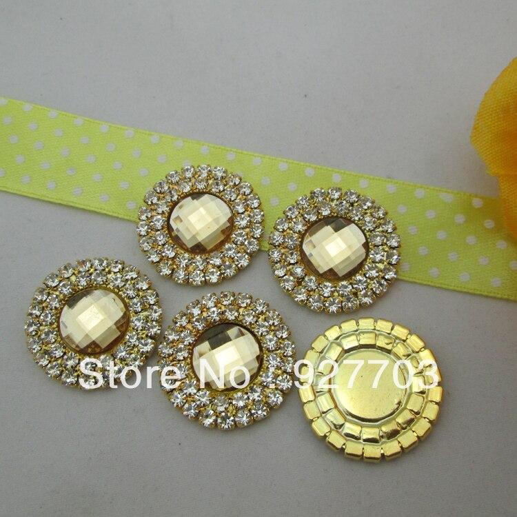 (CM459 25mm)100pcs Double Round Light Coffee Acrylic Diamante Rhinestone Crystal Cluster Scrapbooking Craft