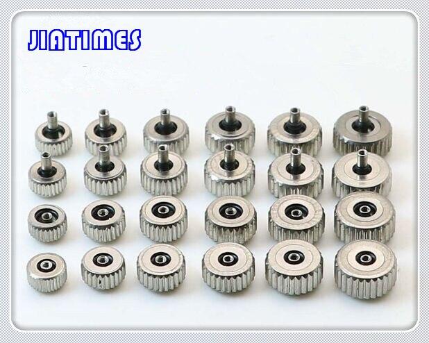 Frete grátis 10pc prata de aço inoxidável relógio à prova d água coroa de 3.5mm a 7.0mm pequeno furo 2.0mm tamanho selecionado do diâmetro