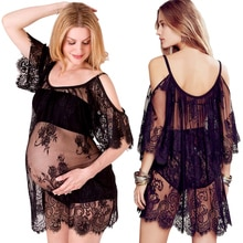 Blanc noir coulant maternité photographie accessoires Sexy dentelle robes mode grossesse robe Photo Shoot robe de maternité photographie