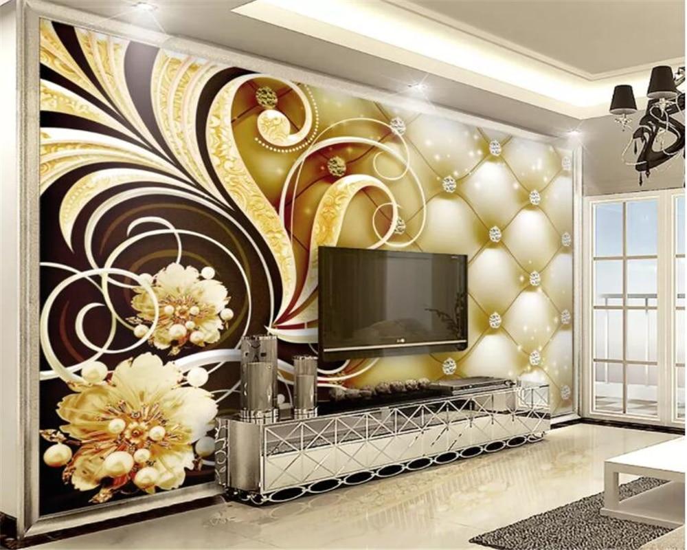 Papel pintado de foto personalizado beibehang, bolsa suave de diamantes, flores, de lujo, para sala de estar, sofá, mesita de noche, papel tapiz 3d, mural de papel pintado
