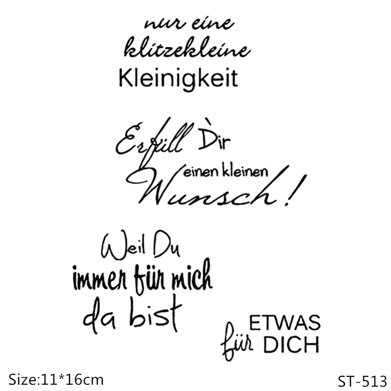 Sellos transparentes AZSG serie alemana de palabras/sellos para álbum de recortes DIY/fabricación de tarjetas/sello artesanal de silicona decorativo para álbum