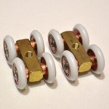 Kostenloser versand tür roller ultra-ruhigen holz tür schiebetür pulley hängen schiene track nylon rad glas lager tür hardware