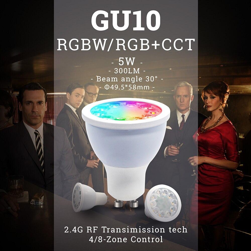 AC100-240V 220 V 2,4G RF 5 W GU10 RGBW RGB + CCT LED regulable inalámbrico Led bombilla Led proyector iluminación de lámpara Led inteligente con Milight