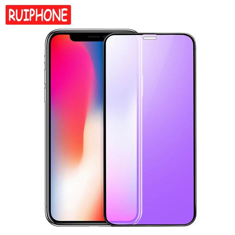 Vidrio Templado curvado 3D de 0,23mm para iPhone XS Max XR borde suave alta definición Anti luz azul Protector de pantalla para iPhone X XS