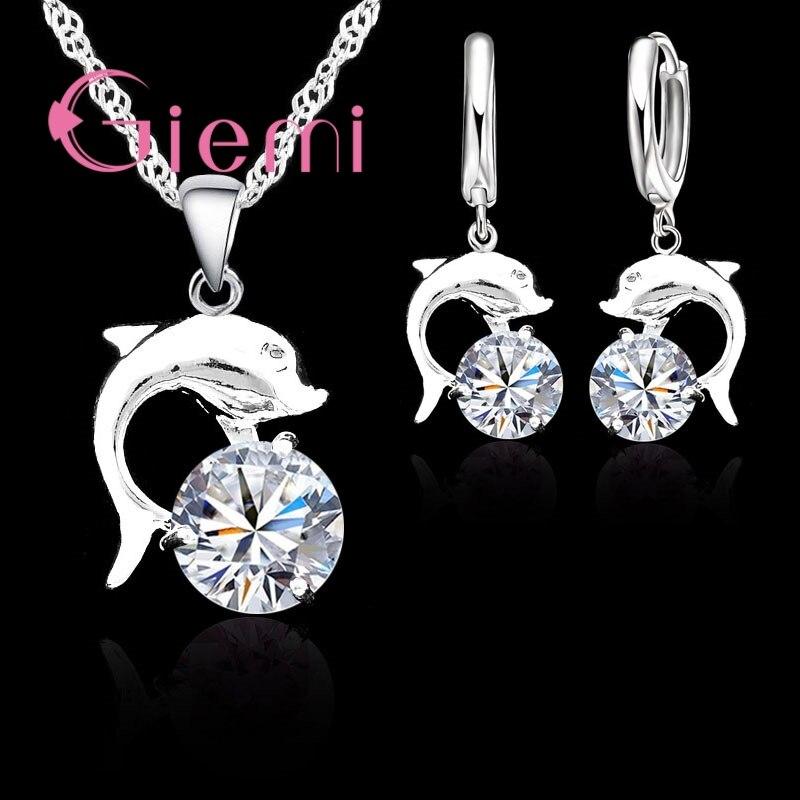 Romance do vintage 925 prata esterlina peixe golfinho pingente colar brincos casamento brilhante zircônia cúbica cristal conjuntos de jóias