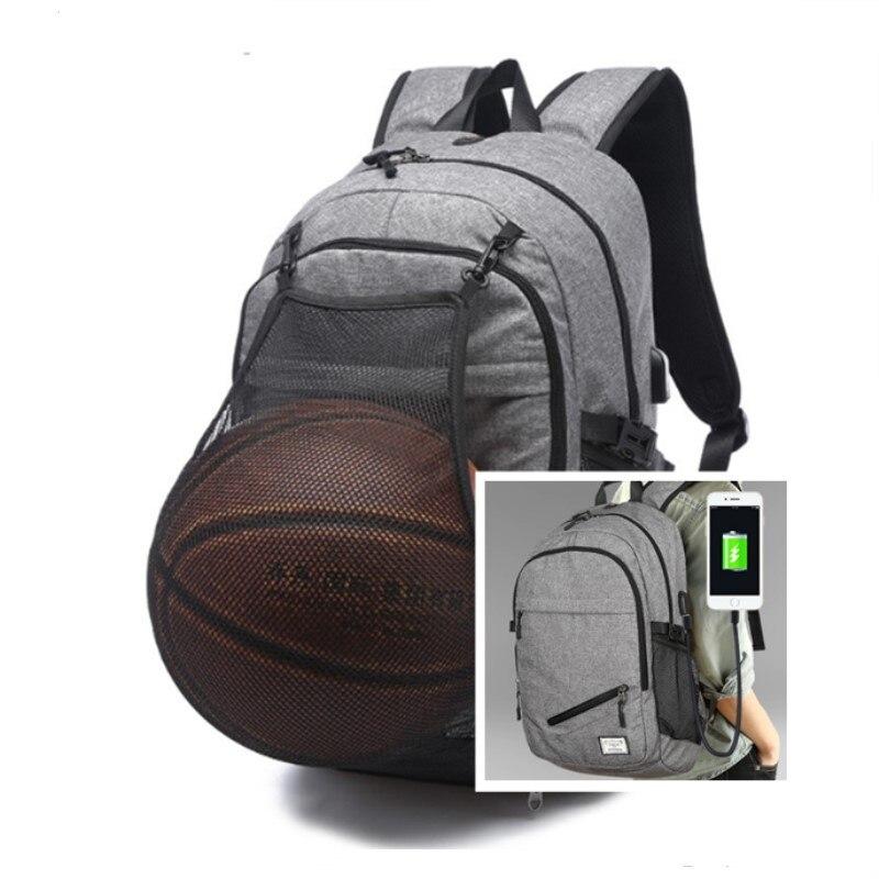 Mochila para ordenador portátil con capacidad para sostener bolas, mochila de viaje de negocios con carga USB, mochila escolar para adolescentes de Nuevo Bolso de Hombro