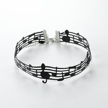 Black Musical Note Necklaces For Women Short Chain Hollow Lace Choker Fashion Jewellery Necklaces Fo