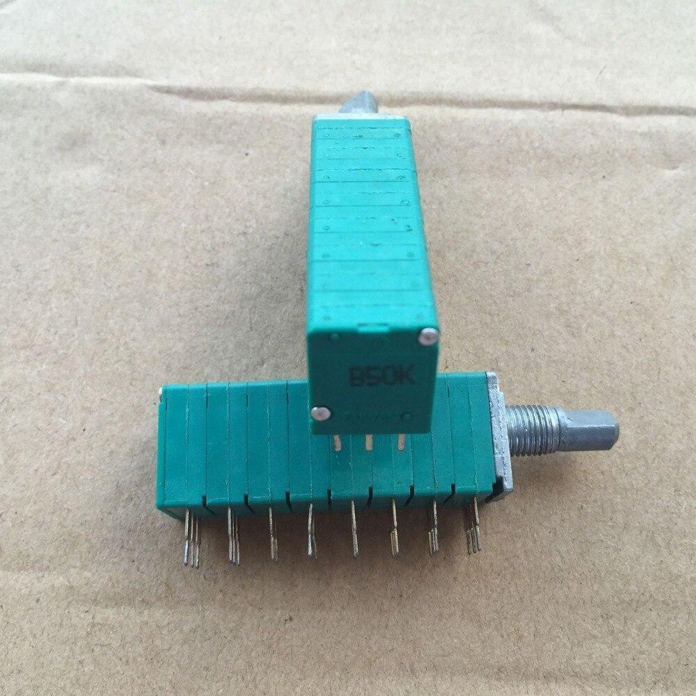 1 pces taiwan rk13 tipo potenciômetro de vedação 8, b50k * 8 eixo longo, 15mm multi-canal oito potenciômetro de volume