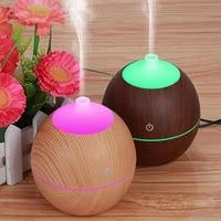 Humidificateur a bois de 130ml  huile essentielle  purificateur dair  aromatherapie ultrasonique  parfum a 7 couleurs changeantes  veilleuse LED pour bureau et maison