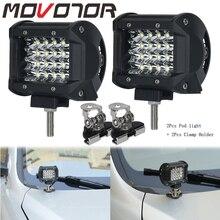 4inch Offroad Led Light Bar Spotlight SUV Barra 4X4 Worklamp Foglight feux 72W Quad Row Bar +Mounting Bracket Clamp Holder