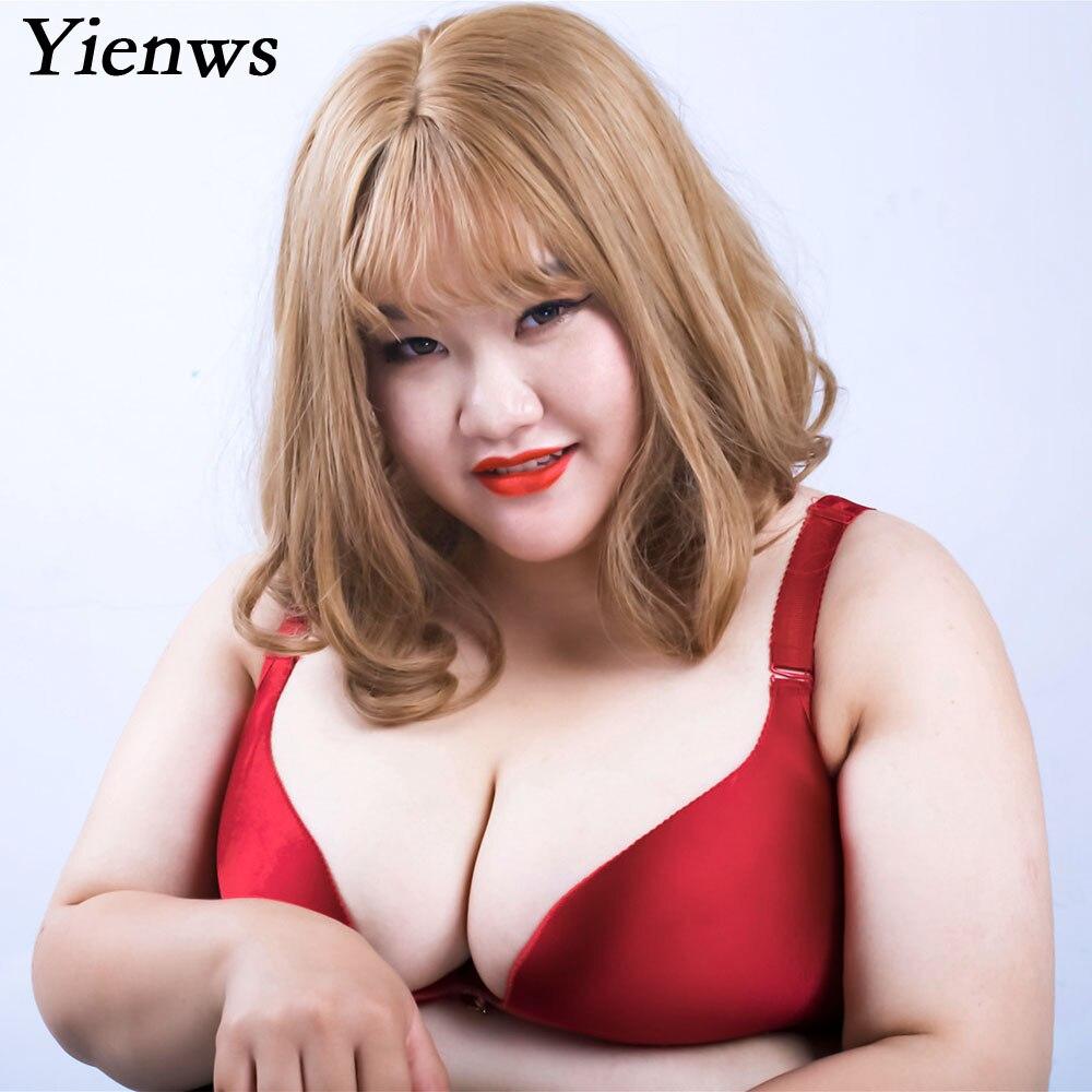 Yienws-حمالة صدر نسائية غير ملحومة ، مقاس كبير ، كوب E F ، لاسلكي ، فتحة V عميقة ، BH ، YID004