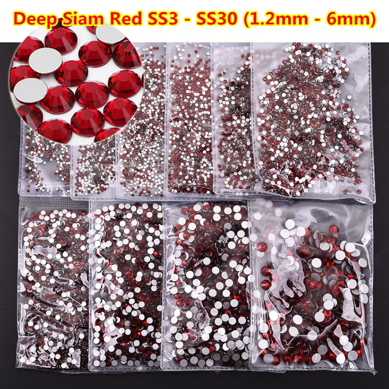 Ss3-ss30 de uñas de color rojo, 1440 Uds., todos los tamaños, cristales...