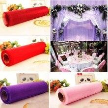 Rouleau de Tulle coloré 50m * 0.5m   Bobine de tissu, décoration artisanale de réception de mariage, chemin de Table en Organza, ceintures de chaise en gaze, tissu nœud