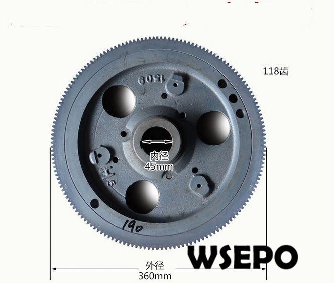 ¡Calidad del OEM! Conjunto de volante de arranque eléctrico con corona de engranajes para motor diésel pequeño refrigerado por agua R185/R190 de 4 tiempos
