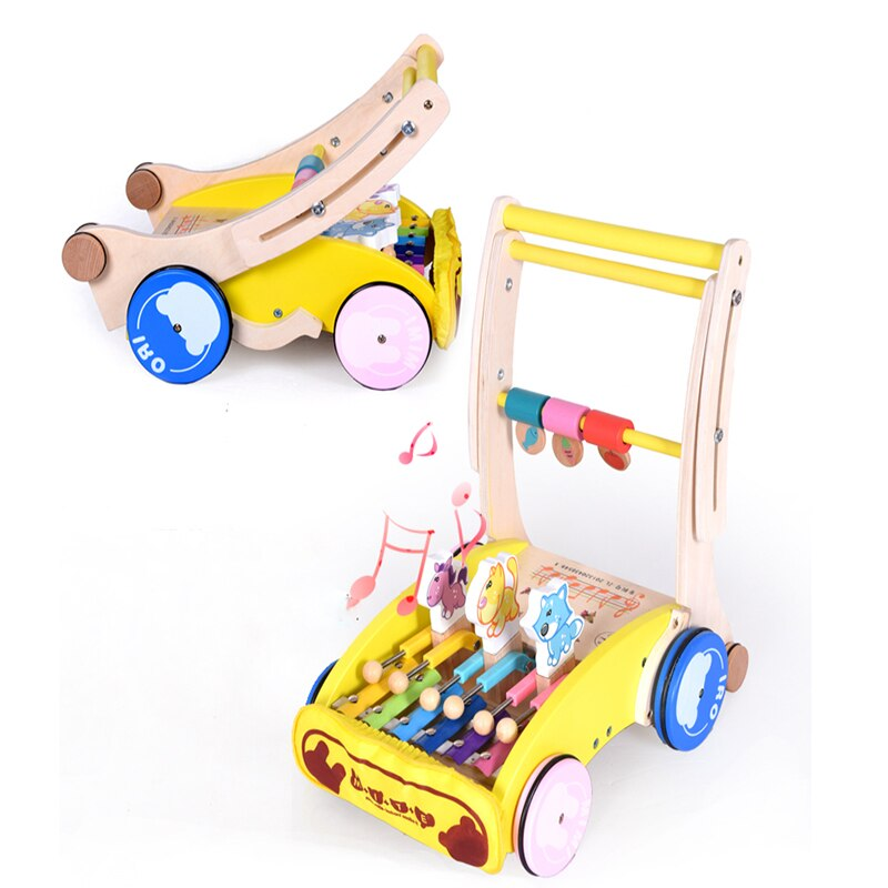 Wooden Multifunctional Infant Toddler Walking Trolley Wooden Child Baby walker Car Suitabe 6M-18M