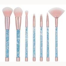 7 pièces licorne diamant poignée paillettes maquillage brosse ensemble brillant fond de teint mélange puissance fard à paupières cosmétique beauté maquillage trousse à outils