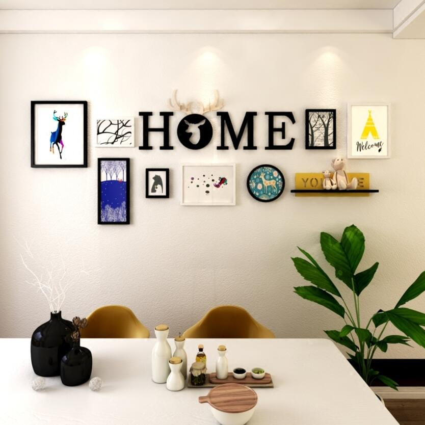 Decoración de pared de salón creativa de múltiples marcos, colgante nórdico, marco de fotos minimalista, marco de fotos de madera, colgadores de pared