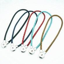De moda de cuero Real collar con broche 50cm imán hebilla de ajuste 18MM botones venta al por mayor de joyería DJ0079