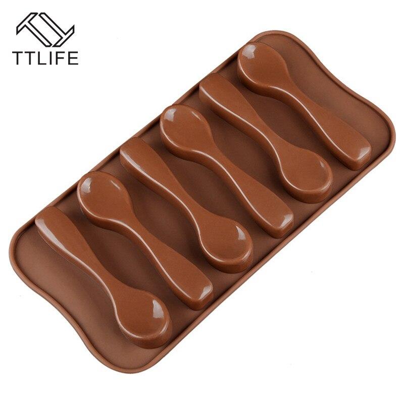 TTLIFE cuchara de silicona de molde de chocolate, hielo bandeja con molde para cubos de Fondant gelatina o pudin moldes para hornear galletitas molde postre horneado Pan
