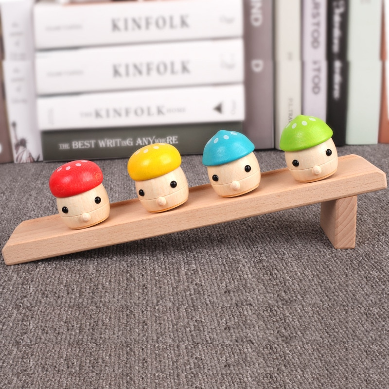 Solid wood children's puzzle Montessori early childhood baby 1-3 years old toy mushroom slide infant hands-on toy Desktop games enlarge