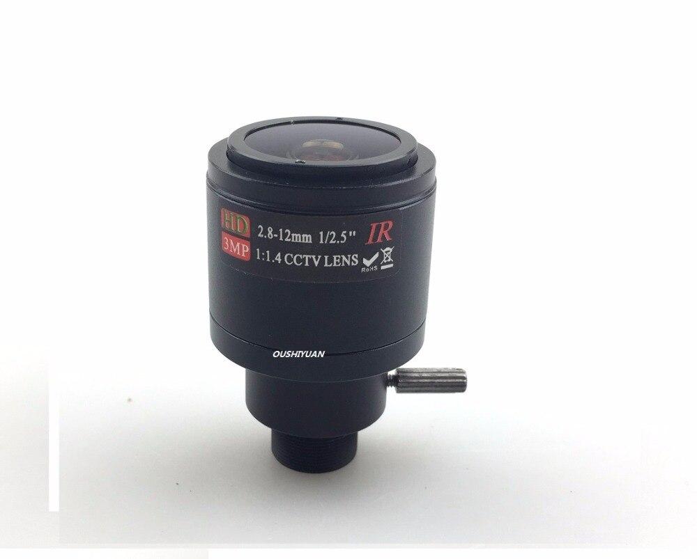 "CCTV 1/2. 5 ""F1 1,4 2,8-12mm Manueller Zoom Brenn MTV M12 * 0,5 HD 3,0 Megapixel Feste Blende Objektiv Für Cctv-kameras"
