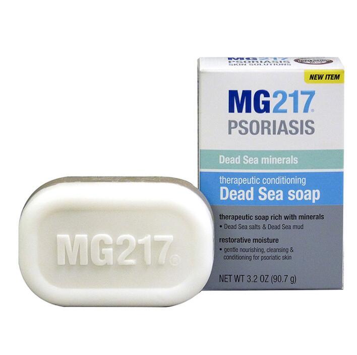 Barra de jabón 100% MG217 Original para tratamiento terapéutico, Mar Muerto, 3,2 onzas, 90,7g, para psoriasis, piel, sal y barro del Mar Muerto