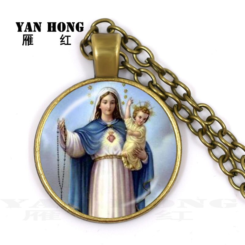 Fashion Necklace glass 25mm, Virgin Mary, bring peace and happiness to mankind, Ramadan gift to friends