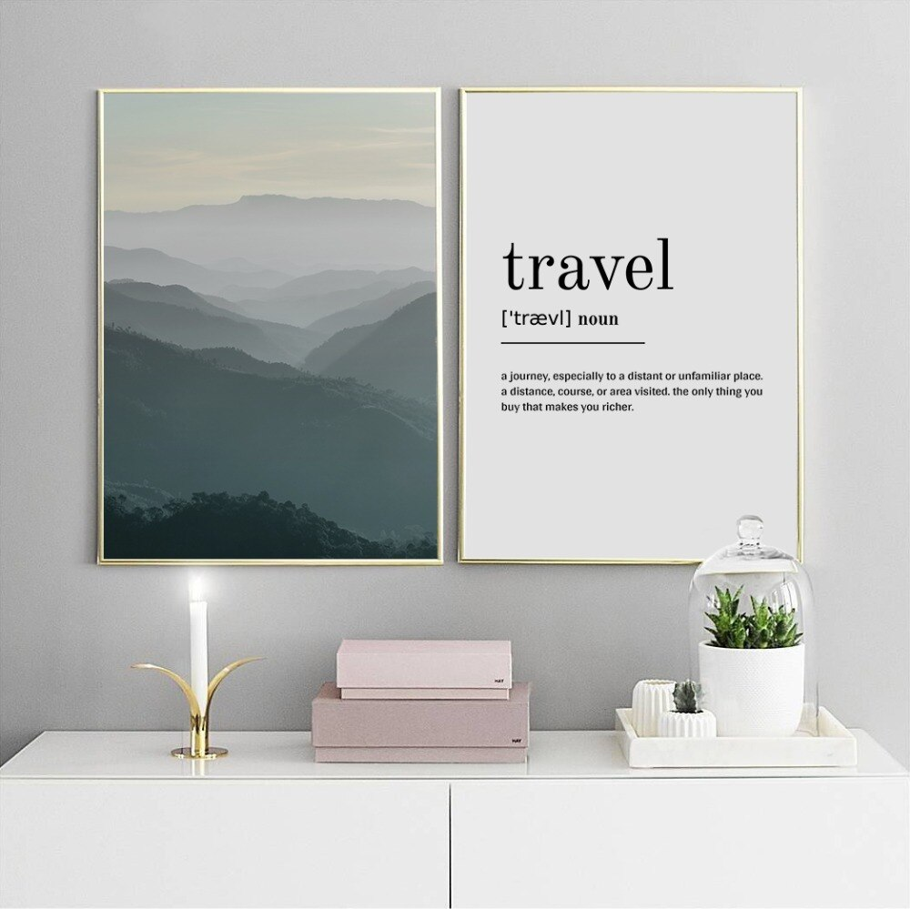 Carteles e impresiones, póster de niebla de viaje de montaña, arte nórdico, decoración de pared escandinava, imagen para pared de salón, arte, impresión en lienzo