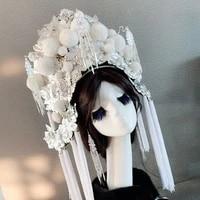 white empress hat for women queen cosplay supplies performance hat vintage hats china opera cap princess hat bride head wear