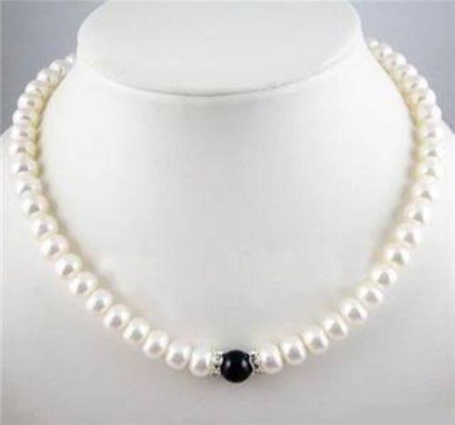 Encanto 7-8mm Blanco FW Perla + Collar de Ágata Negro 18