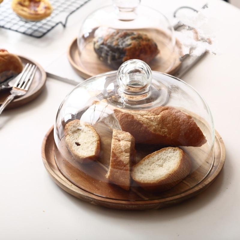 طبق كيك من خشب الأكاسيا بغطاء ، صواني تقديم للحلويات والفواكه ، لحفلات أعياد الميلاد والزفاف ، صينية شاي بعد الظهر ، مقاس M L