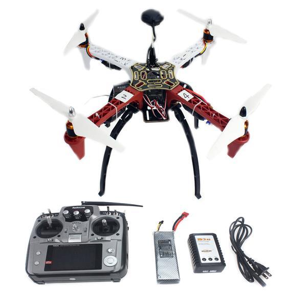 Aeronave Quadrocopter Drone Helicóptero Rtf Quadro Gps Apm2.8 At10 tx – rx Bateria 4-eixo F02192-s F450-v2 rc