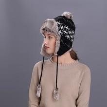 Lady Nieuwe Stijl Winter Warme Muts Oor beschermen Gebreide Bont Wollen Cap Vrouwelijke Outdoor Bomber Hoeden Breiwol Cap b-8560