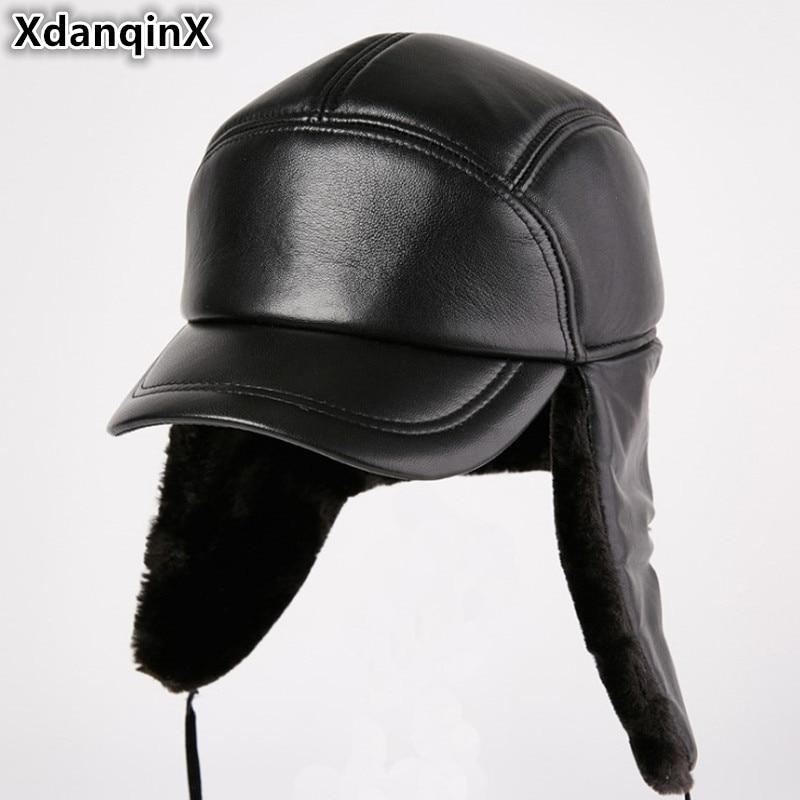 XdanqinX-قبعة من الجلد الطبيعي للرجال ، قبعة شتوية من جلد الغنم السميك للغاية ، غطاء للأذنين