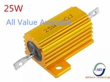 1 pièces 25W 0.33R 0.39R 0.4R 0.47R 0.5R Dalimentation En Aluminium En Métal Coque Bobinée 0.33 0.39 0.4 0.47 0.5 ohm 25W 5%