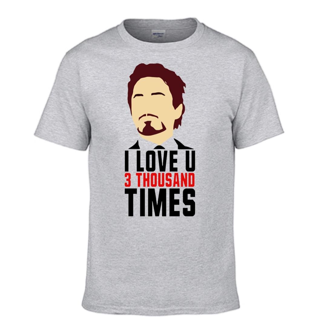I Love You 3000 Iron Man T shirt Black Tshirt Men Super Hero Tony Stark Shirts Tshirts Cotton Short Sleeve Funny Cool T-Shirt
