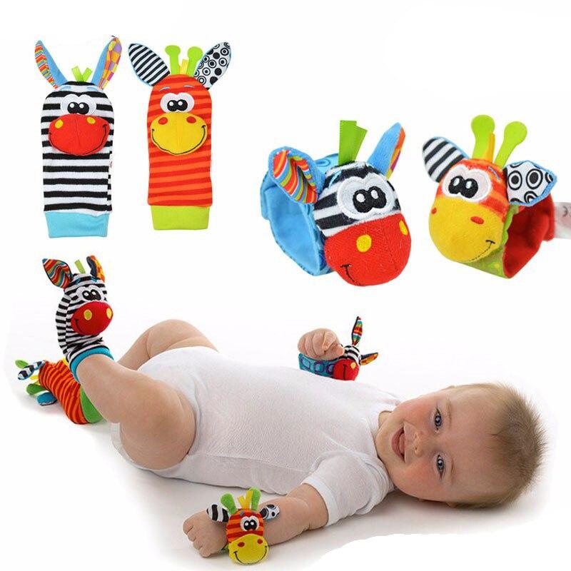 Мягкие детские наручные носки, 2 шт., Мягкие Носки с рисунком животных, для детей 0-12 месяцев, плюшевые игрушки