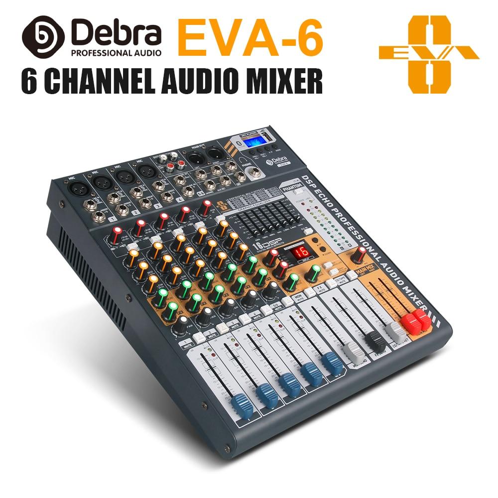 Debra audio EVA-6 6 canais de áudio mixerdj & studio console mixer sistema embutido receptor sem fio bluetooth