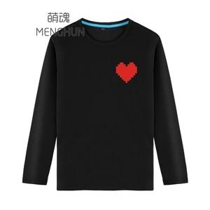 game concept t shirt undertale mini heart long sleeve t shirts cotton  game fans gift t shirt ac1149