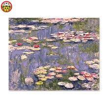 Painting by numbers art vernice per numero di pittura decorativa di colore dipinto la sua impressione di Monet giglio di acqua
