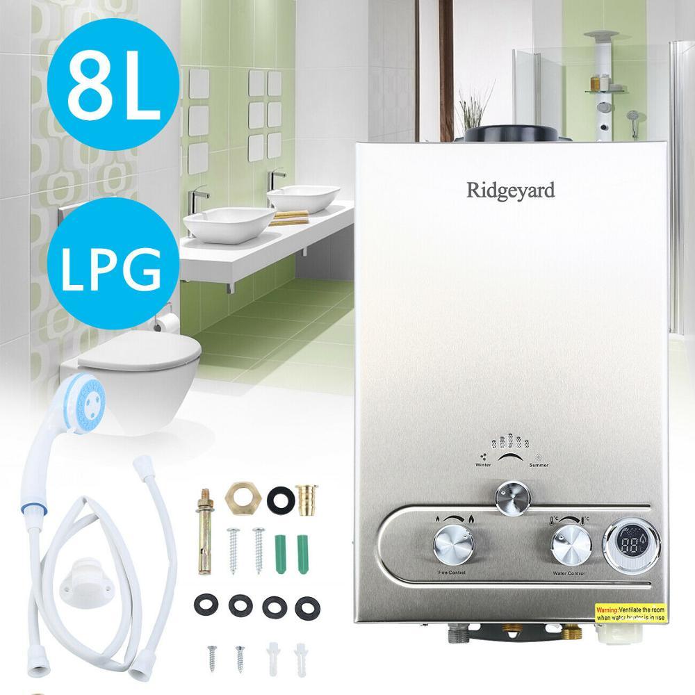 8L GAS LPG caldera propano Gas instantáneo 2GPM Tankless calentador de agua de acero inoxidable