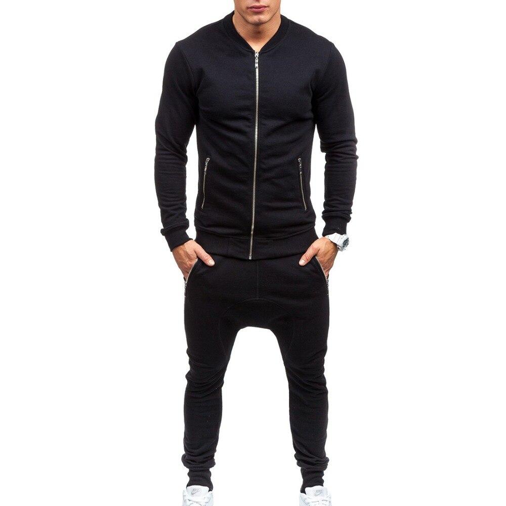 الرجال الترفيه ضئيلة مجموعات جديد الأزياء الذكور الخريف الشارع ارتداء نمط سترة بلوزات + السراويل حجم 3XL