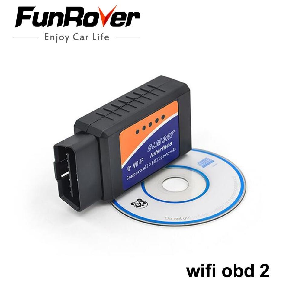 Free Shipping WiFi ELM327 OBD2 OBD II Car Auto Diagnostic Scanner Scan High Quality Auto Diagnostic Tool ELM 327 OBDII OBD2
