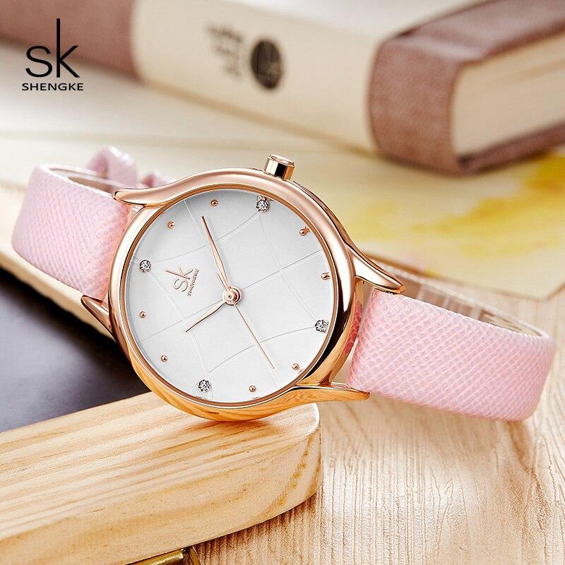 Shengke Luxury Quartz Watch Women Ladies Fashion Leather Watches Montre Femme 2019 Top Brand SK Women Wrist Watch Reloj Mujer enlarge