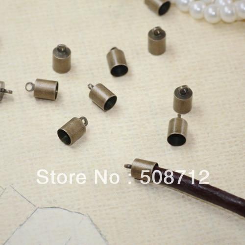 ¡Envío Gratis! 500 unids/lote tono bronce collar cordón final Tib cuentas de W/lazo ajuste 5mm Cordón de cuero