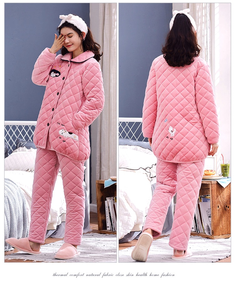 Pajamas women's winter coral fleece three-layer thick quilted fresh sweet warm flannel cardigan home service suit maternity set enlarge