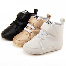 Shawbao-chaussures en cuir PU rugueuses   Avec autocollants magiques du département de létat haut, chaussures de bébé et de premiers marcheurs, semelle souple de