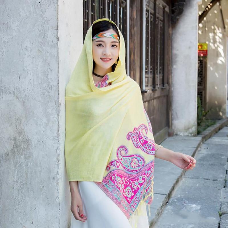 Multifunções vintage vento étnico algodão cachecol feminino longo franjas caju jacquard dupla utilização protetor solar ar condicionado xale